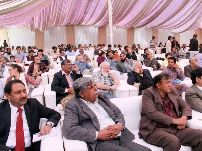 speaking on the first day of the conference prof dr jonathan mark kenoyer discussed mohen jo daro harappa and dholavira comparing the urban phenomenon of three major indus cities photo ayesha mir express