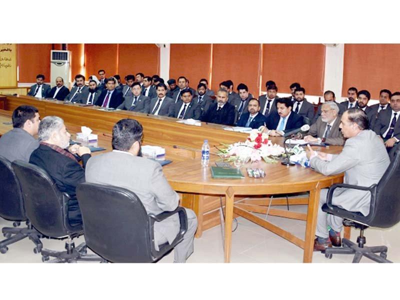nab chairman chairs a meeting of the bureau in peshawar photo inp