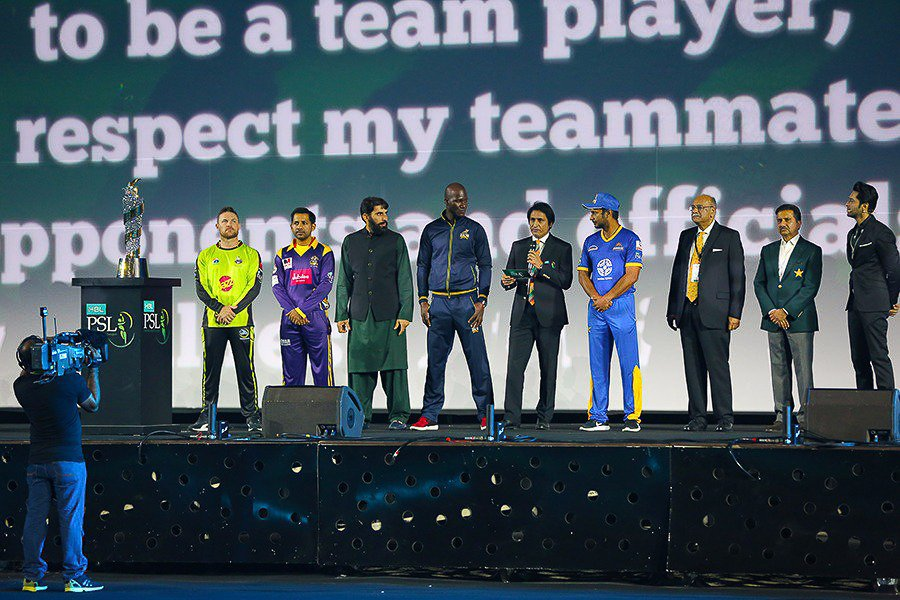 captains from each franchise during pakistan super league 039 s opening ceremony photo courtesy pcb