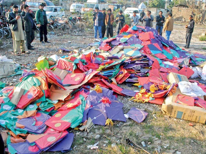pile of confiscated kites that were torched by rawalpindi police photo inp