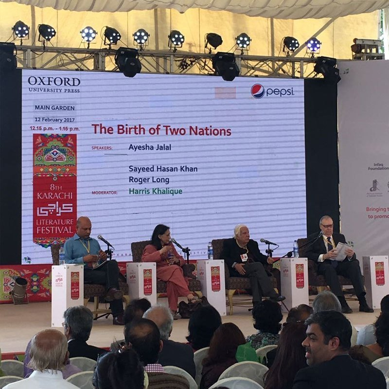 The panellists of the session, titled 'The Birth of Two Nations', at the 8th Karachi Literature Festival on Sunday were posed with the question: Was Partition the birth of two nations or two states? PHOTO COURTESY: TWITTER/ @snobers