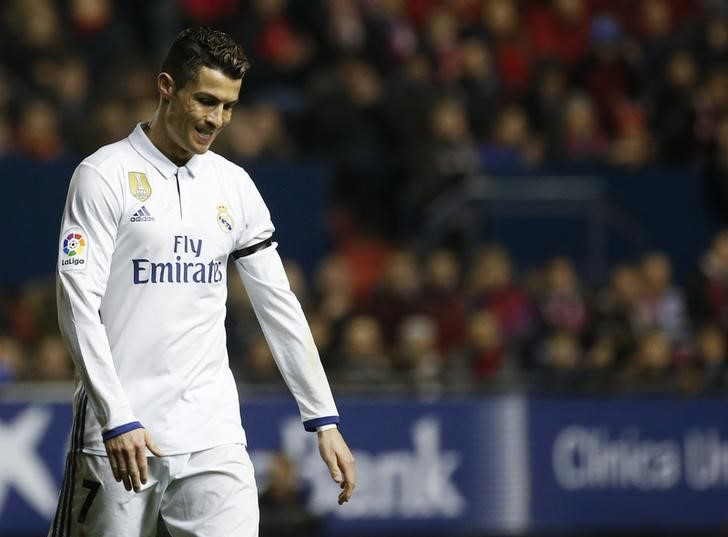 real madrid 039 s cristiano ronaldo reacts during the match against osasuna photo reuters
