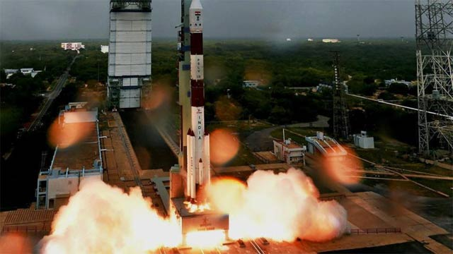 the rocket is set to blast off from the southern spaceport of sriharikota photo courtesy pti