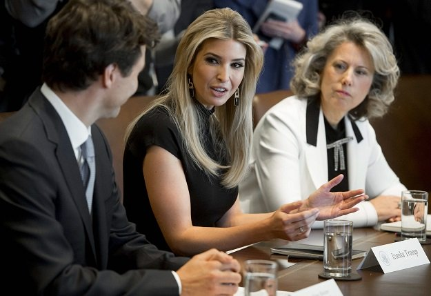 canadian prime minister justin trudeau speaks alongside ivanka trump c daughter of us president donald trump and dawn farrell r president and ceo of transalta corporation during a roundtable discussion on women entrepreneurs and business leaders in the cabinet room of the white house in washington dc february 13 2017 photo afp