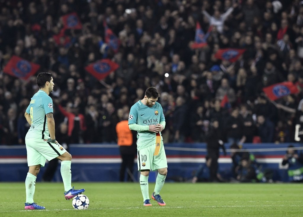 psg outclassed barcelona 4 0 in last 16 s first leg photo afp