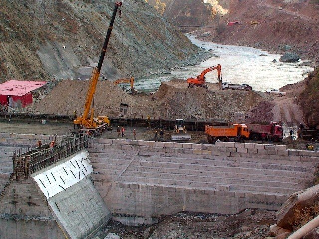 a view of ongoing construction work at the neelum jhelum hydropower project site photo express file