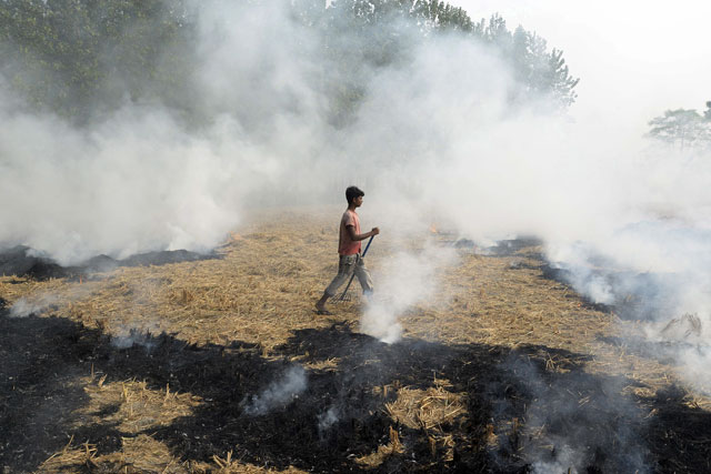 a view of the the alarmingly high air pollution in india photo afp