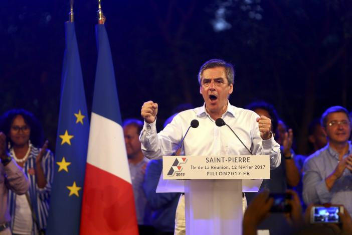 francois fillon former french prime minister member of the republicans political party and 2017 presidential candidate of the french centre right attends a political rally in saint pierre as he campaigns on the french indian ocean island of the reunion february 12 2017 photo reuters