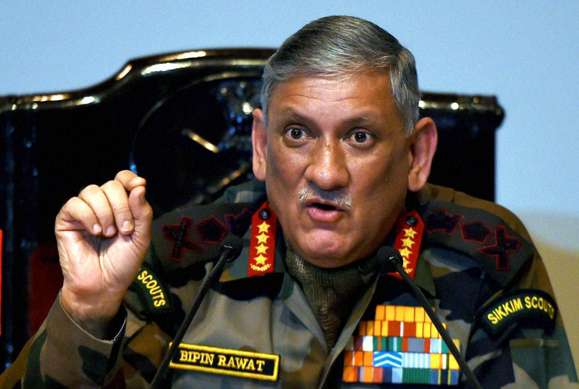 bipin rawat warns that kashmiris who obstruct operations in the occupied valley will also be treated as terrorists photo pti