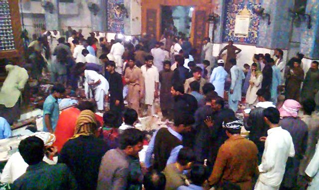 inside view of sufi saint lal shahbaz qalandar s shrine in sehwan sindh where a suicide bomber blew himself up on thursday february 16 2017 photo online