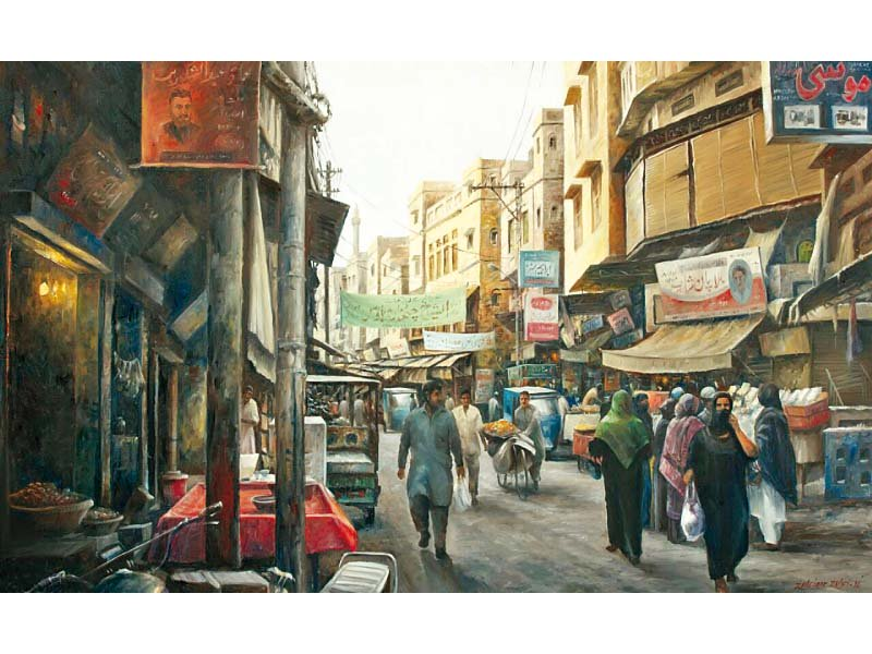 captured on canvas the hustle and bustle of old lahore
