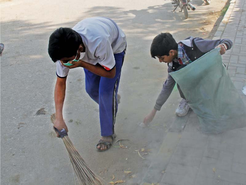 shared responsibility students launch cleanliness drive in malir
