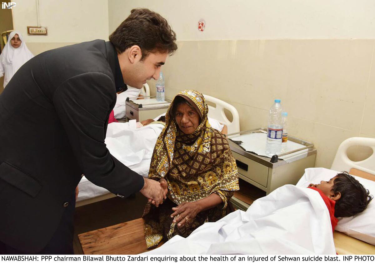 pakistan peoples party chairperson bilawal bhutto zardari meets victim of sehwan attack photo inp