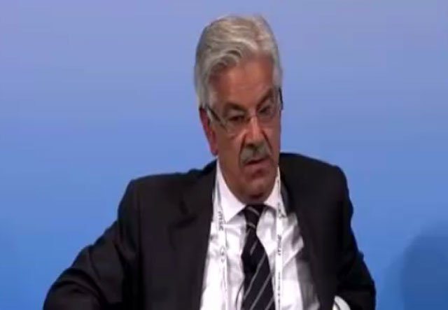 Defence Minister Khawaja Asif at the Munich Security Conference 2017. SCREEN GRAB