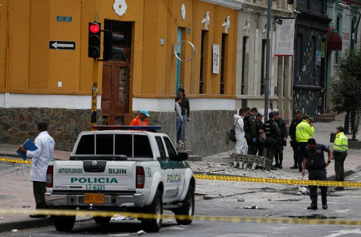 police work the scene where an explosion occurred near bogota 039 s bullring colombia february 19 2017 photo reuters