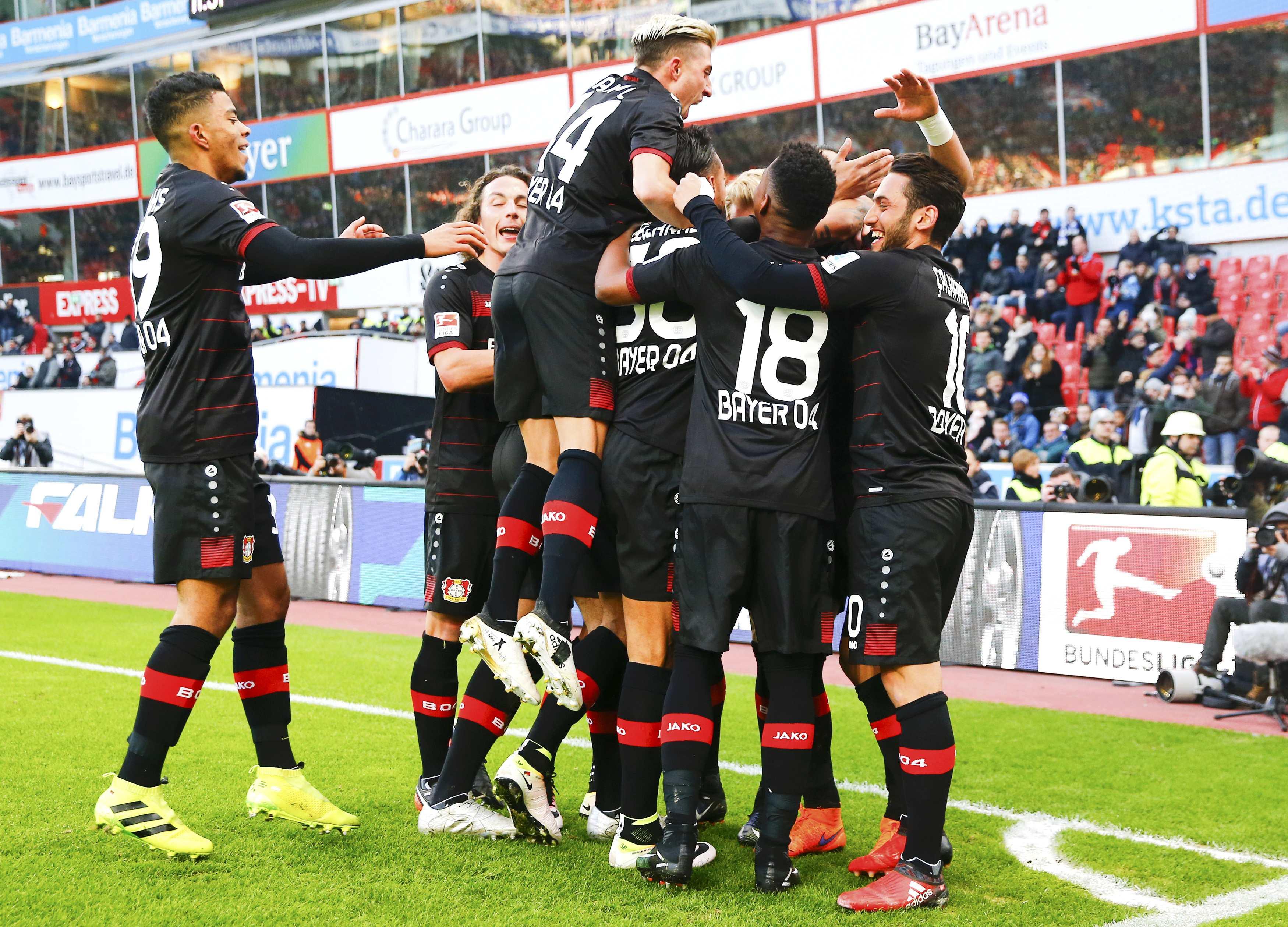 leverkusen players during a match against berlin photo reuters