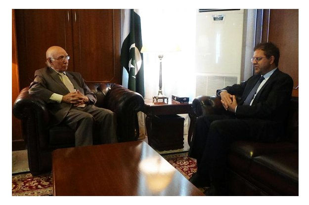 in this file photo prime minister s adviser on foreign affairs sartaj aziz meeting with afghan ambassador in islamabad dr hazrat omar zakhilwal photo online