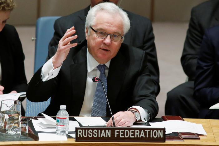 russian ambassador to the united nations vitaly churkin addresses members of the u n security council during a meeting about the ukraine situation at the u n headquarters in new york march 6 2015 photo reuters