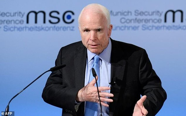 us senator john mccain speaks on the first day of the 53rd munich security conference msc at the bayerischer hof hotel in munich southern germany on february 17 2017 photo afp