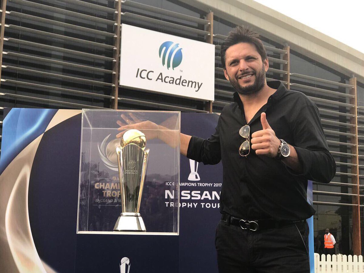 afridi inaugurates icc champions trophy tour