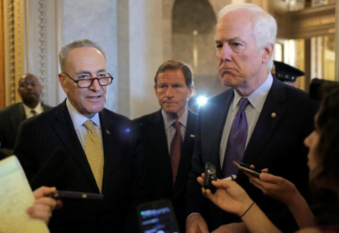 senators chuck schumer d ny l richard blumenthal d ct and john cornyn r tx speak after the senate voted to override u s president barack obama 039 s veto of a bill that would allow lawsuits against saudi arabia 039 s government over the sept 11 attacks on capitol hill photo reuters