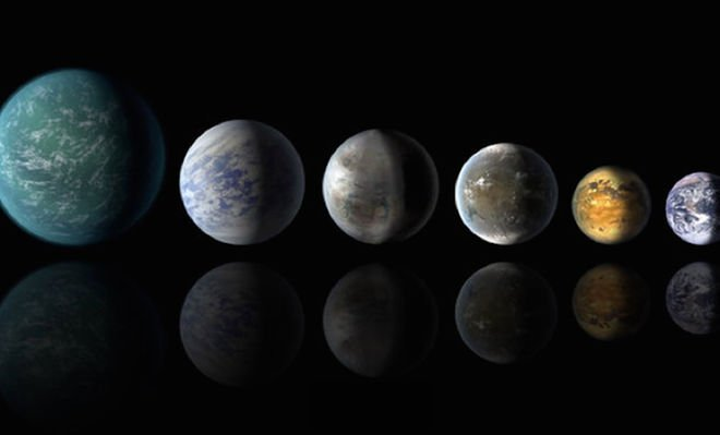 a picture of earth and artist 039 s interpretations of several exoplanets that could be like our own from left artist 039 s impressions of kepler 22b kepler 69c kepler 452b kepler 62f and kepler 186f a picture of earth is at far right photo nasa