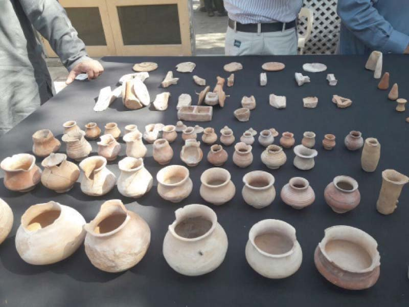 artifacts excavated at the chanhu daro archaeological site are put on display photo express