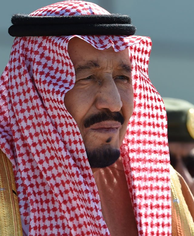 this file photo taken on january 25 2017 shows saudi king salman bin abdulaziz attending a ceremony marking the 50th anniversary of the creation of the king faisal air academy at king salman airbase in riyadh photo afp file