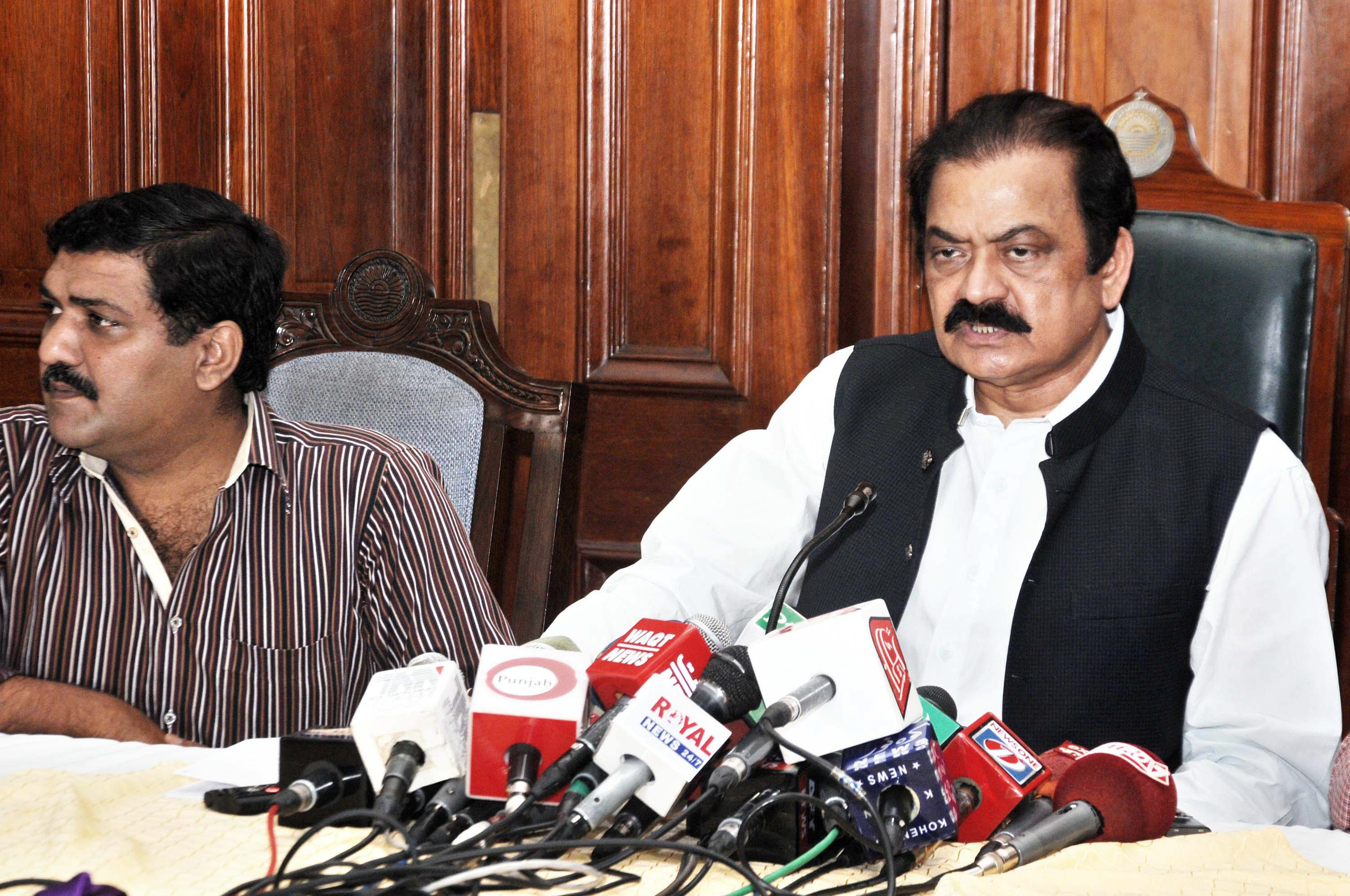 punjab law minister rana sanaullah addresses a press conference at the punjab assembly in lahore on august 25 2015 photo waseem nazir express