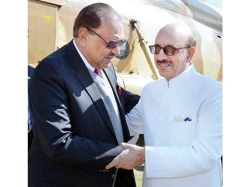 ajk president receives president mamnoon upon arrival in muzaffarabad photo app