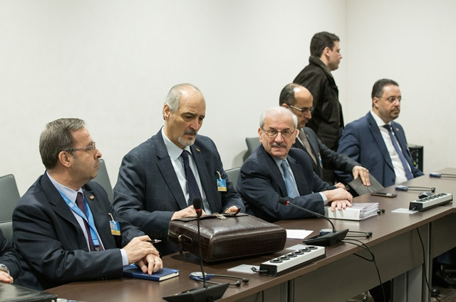syrian ambassador to the united nations and head of the government delegation bashar al jaafari 4th l attends a meeting of intra syria peace talks with un special envoy for syria staffan de mistura at palais des nations in geneva switzerland feb 24 2017 photo reuters
