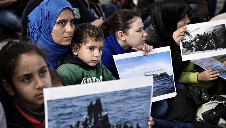 syrian refugees living in greece protest on nov 19 2014 in athens calling for immediate asylum status and housing more than half of europeans want less migration with up to 84 per cent of greeks against any further rise the international organisation for migration said on friday photo afp