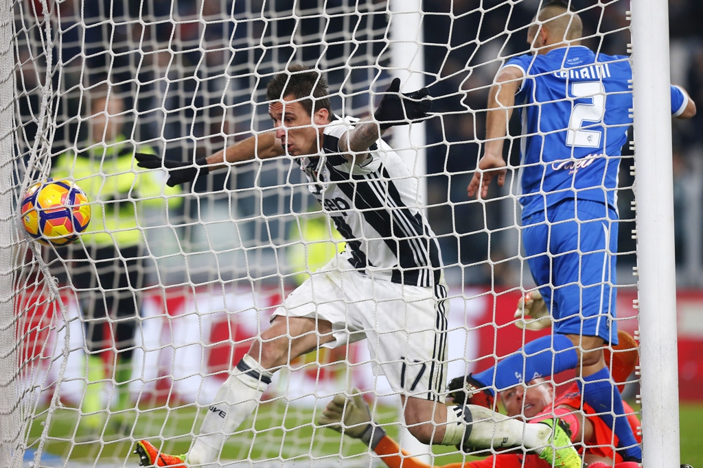 ushering it home mandzukic opened the scoring for juventus in what proved to be a tricky outing for the runaway leaders against empoli photo afp