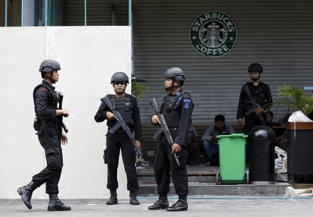 indonesian police stand guard at the site of a militant attack in central jakarta indonesia in this january 16 2016 file photo photo reuters