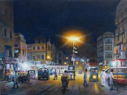 artist hanif shahzad used the medium of oil on canvas for his paintings photos courtesy artciti gallery