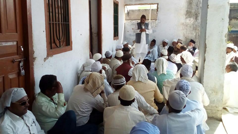 a meeting of muslims in progress during anti dowry campaign at mahuadand in latehar district india on tuesday february 28 photo hindustan times