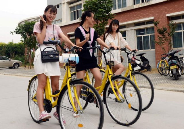 students pose for pictures as they use ofo sharing bicycles at a campus in zhengzhou henan province china september 6 2016 photo reuters