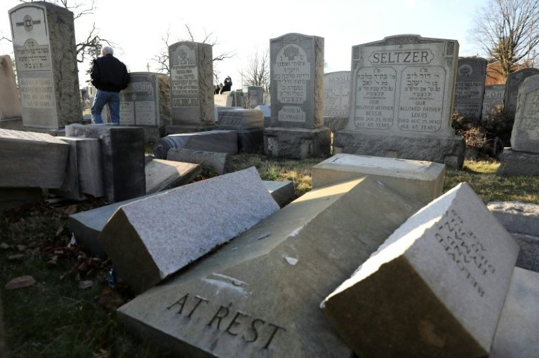 vandalized tombstones are seen at the jewish mount carmel cemetery february 26 2017 in philadelphia photo afp
