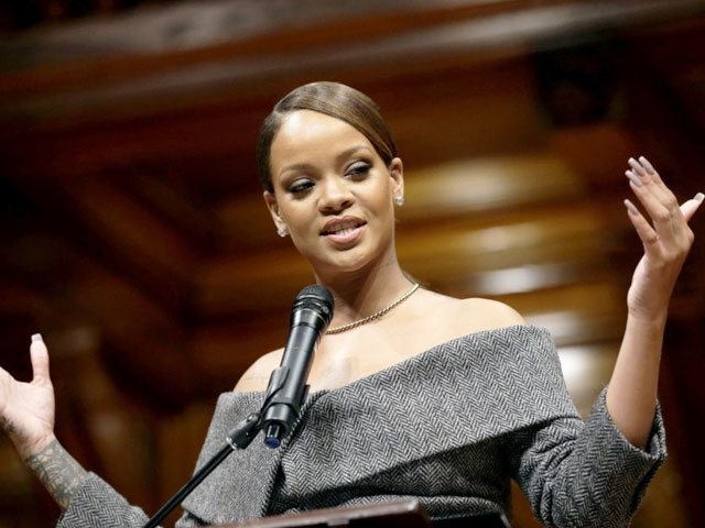 rihanna addresses an audience after being presented with the 2017 harvard university humanitarian of the year award steven senne ap