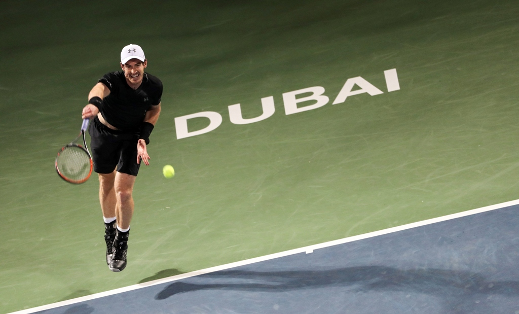 murray returns the ball to kohlschreiber on march 2 2017 photo afp