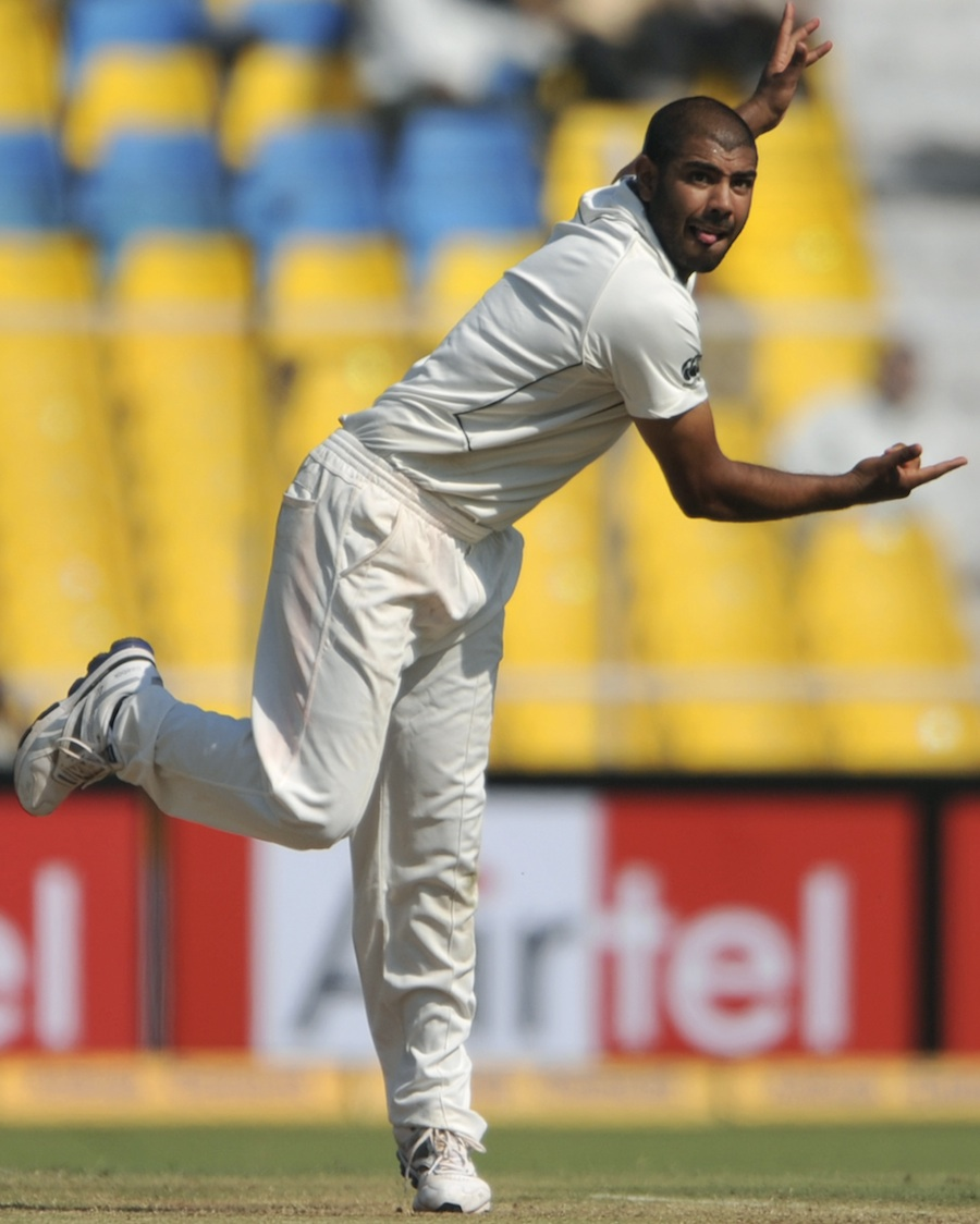 jeetan patel delivers a ball during a test match on november 5 2010 photo afp