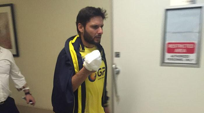afridi received 12 stitches on his right hand photo courtesy twitter