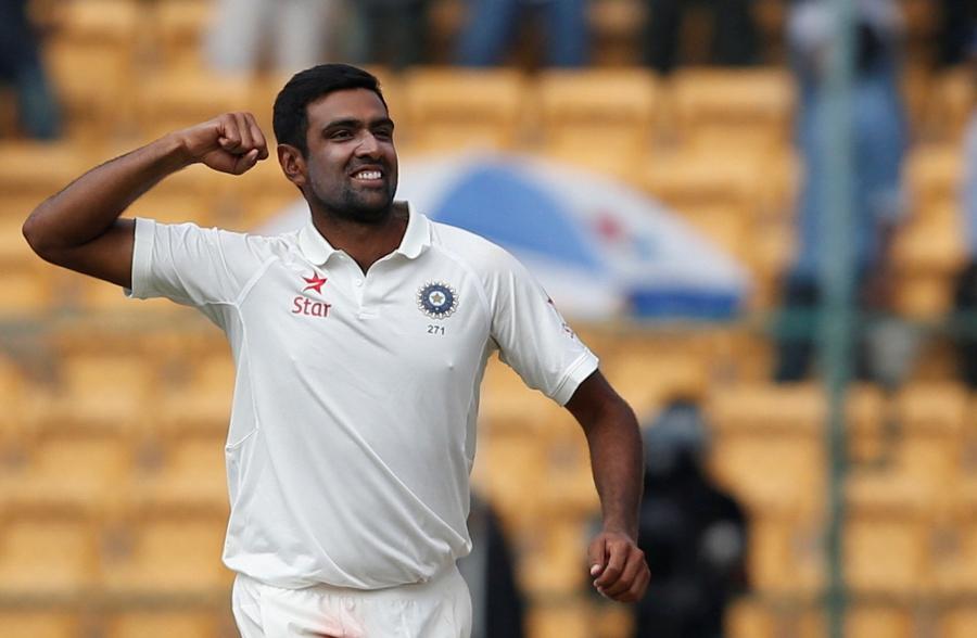 India's Ravichandran Ashwin celebrates the wicket of Australia's Peter Handscomb on March 7, 2017.  PHOTO: REUTERS