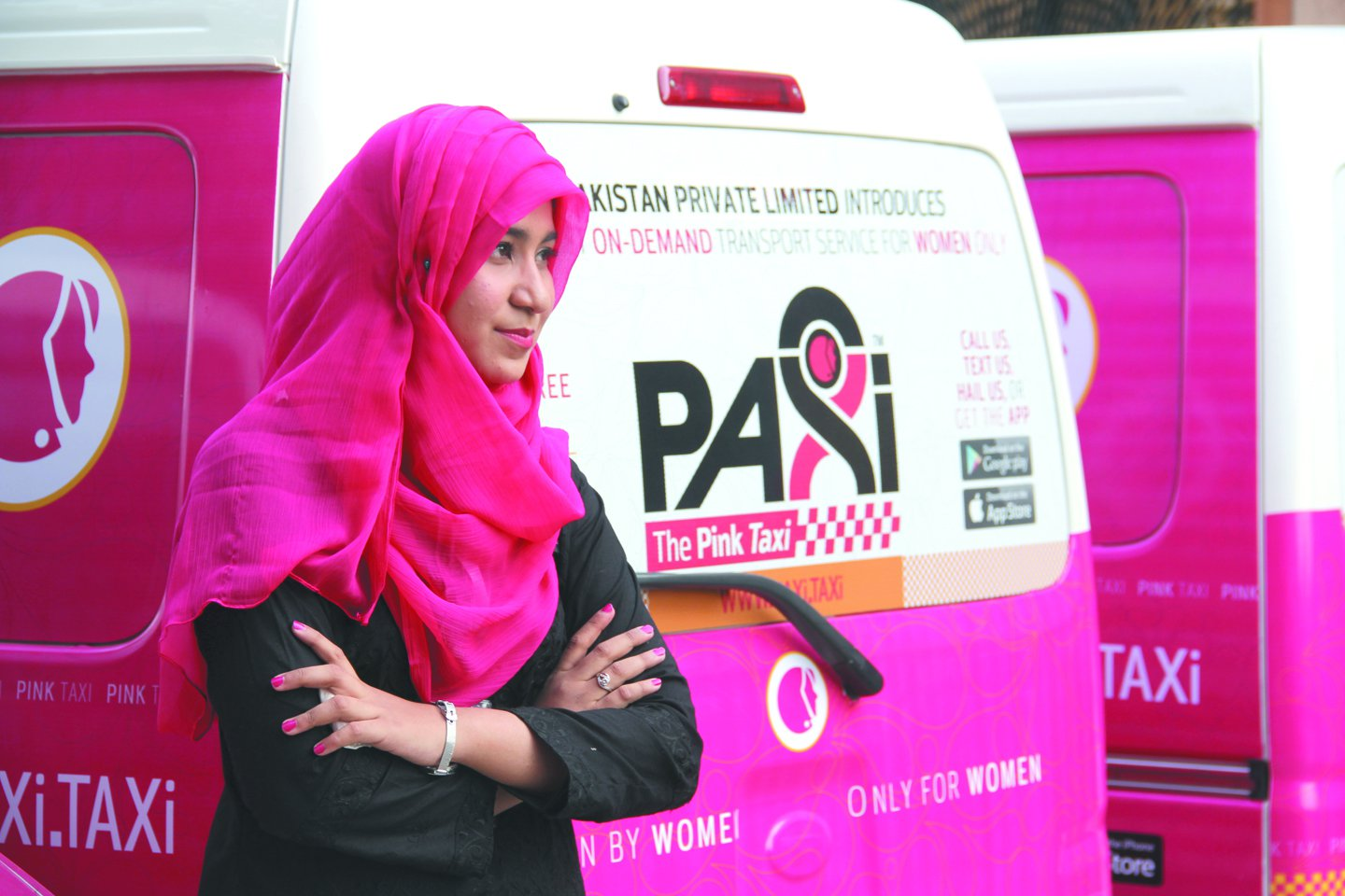 New taxi in town: Paxi has a total of 33 vehicles with 12 pink taxis, 6 paxi taxis and 15 bike taxis, according to Paxi manager Shahrukh Shah. Photo: Ayesha Mir/ Express