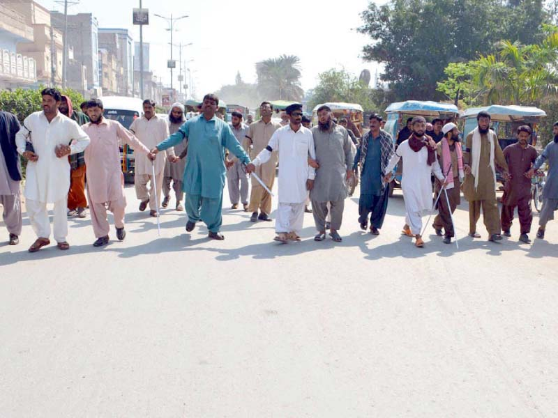 visually impaired protesters demand four month salaries