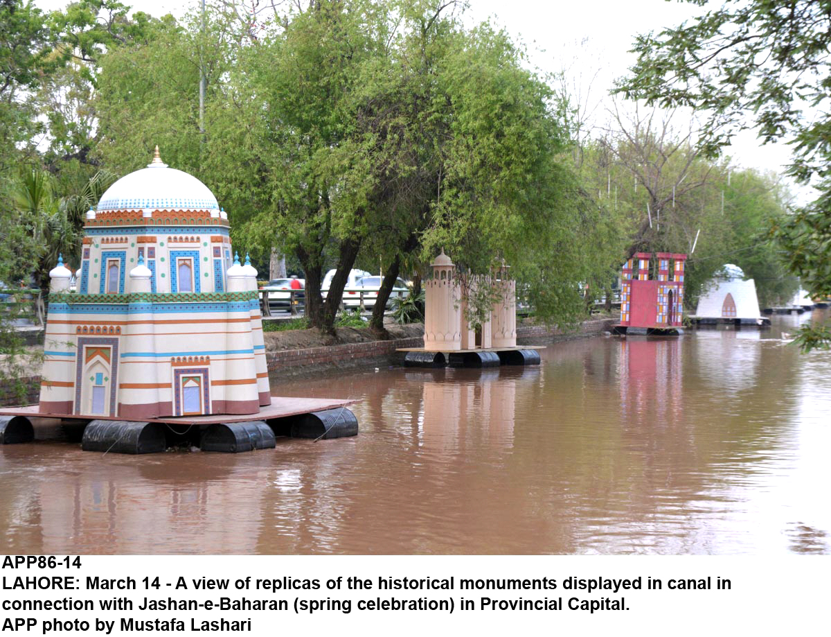a file photo of lahore canal with models of various monuments in pakistan afloat for the jashn e baharan celebrations photo app