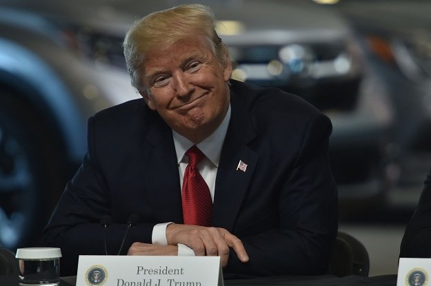 US President Donald Trump speaks with auto executives at American Center for Mobility in Ypsilanti, Michigan on March 15, 2017. PHOTO: AFP