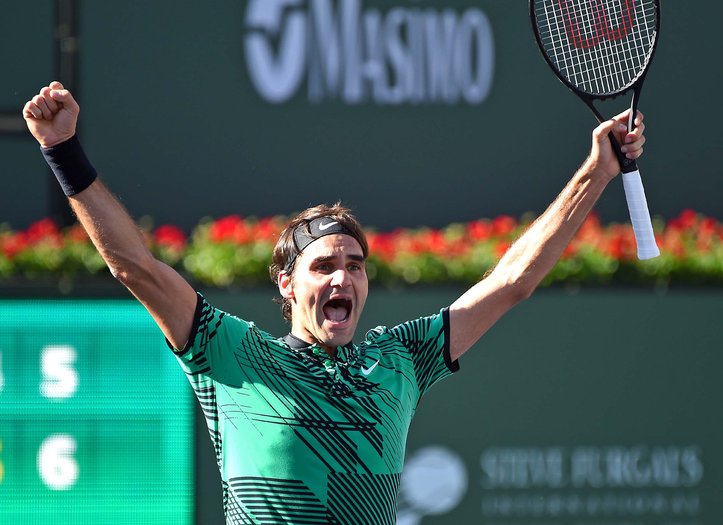 Mar 19, 2017; Indian Wells, CA, USA; Roger Federer (SUI)  celebrates at match point as he defeated Stan Wawrinka (not pictured) 7-6, 6-4 in the men's final in the BNP Paribas Open at the Indian Wells Tennis. PHOTO: COURTESY