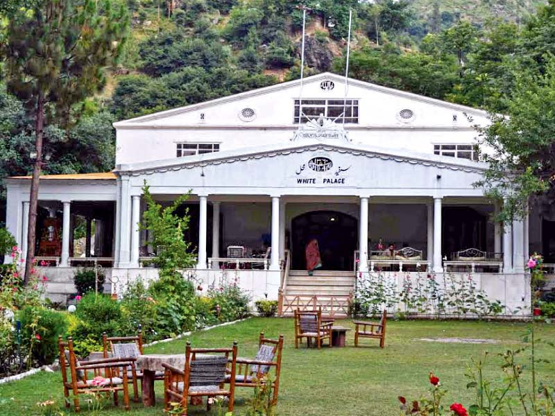 white palace adds to marghuzar valley s splendour