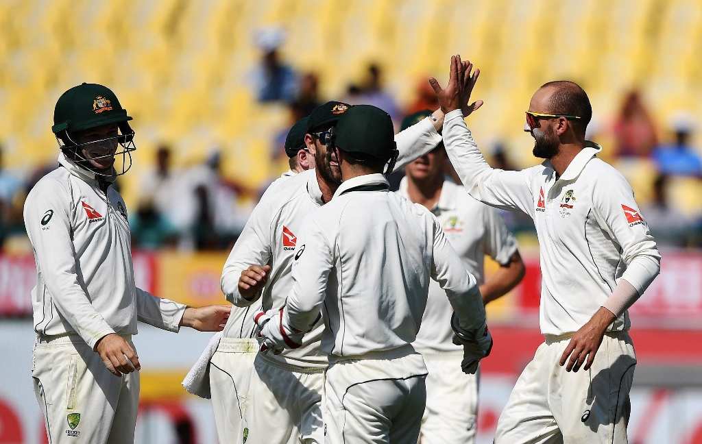 LOUDEST ROAR: Fast-bowlers Hazlewood and Cummins bowled their hearts out during frugal spells to restrict India but Lyon was the lucky one to capitalise on the pressure being built. PHOTO: AFP